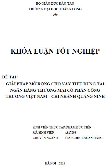 Giải pháp mở rộng cho vay tiêu dùng tại Ngân hàng Thương mại Cổ phần Công thương Việt Nam Chi nhánh Quảng Ninh
