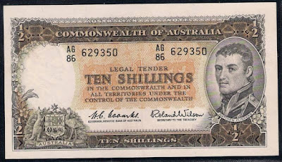 Australian Ten-shilling note 1961 Captain Matthew Flinders