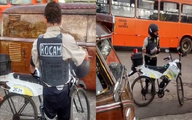 Com sonho de ser policial, adolescente transforma bicicleta em viatura e chama atenção em Curitiba