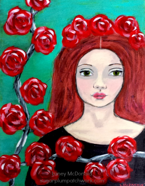 Painting of redheaded girl among red flowers.