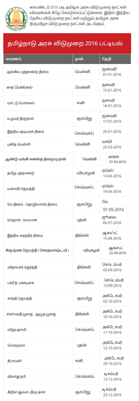 Tamil Nadu Government holidays 2016 List