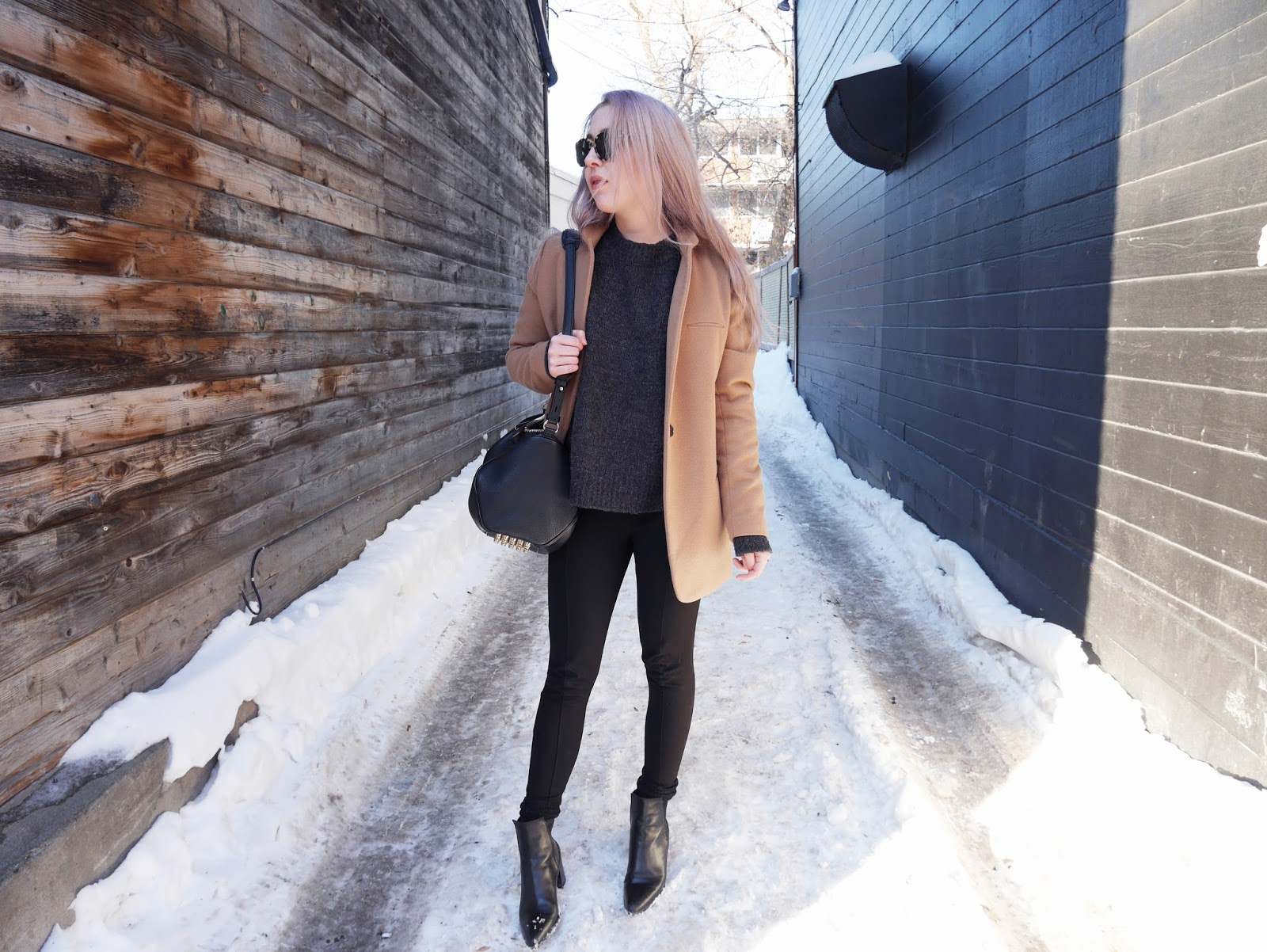 OOTD featuring a Zara camel coat, Oak and Fort sweater, Zara leggings and boots, and Alexander Wang Rocco