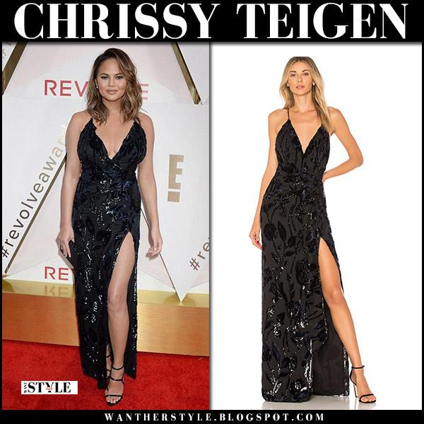 Chrissy Teigen in black velvet detail dress at Revolve awards red carpet outfit november 2 2017