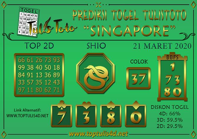 Prediksi Togel SINGAPORE TULISTOTO 21 MARET 2020