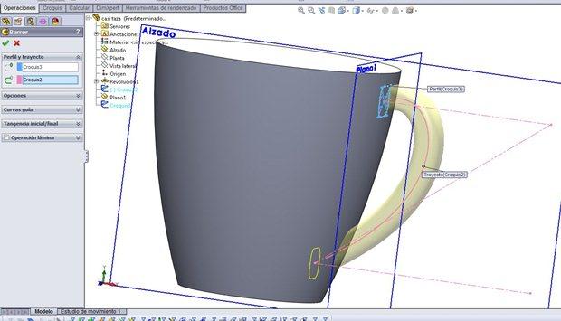 Operación de Barrido para crear el asa de la taza en Solidworks