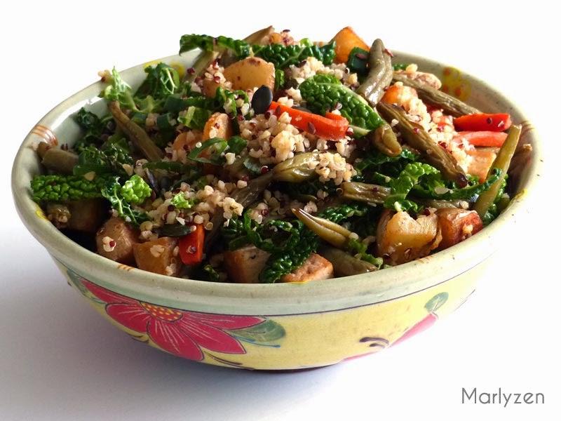 Salade de quinoa aux petits légumes.