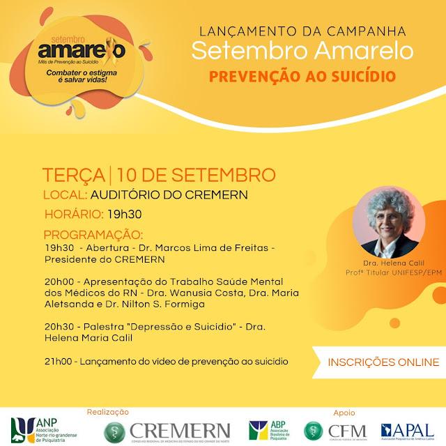 Conselho Regional de Medicina e ANP lança Campanha Setembro Amarelo na próxima terça-feira