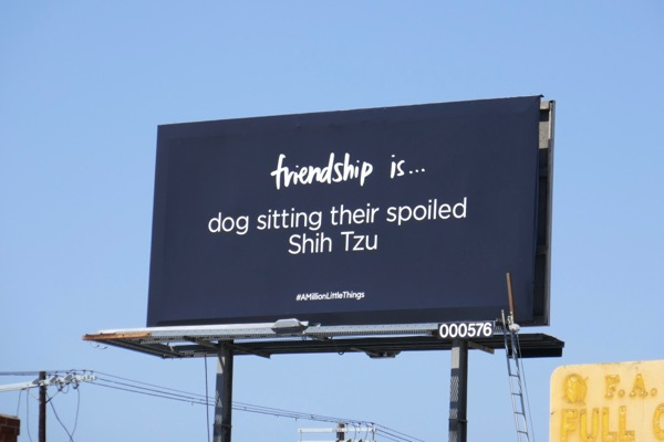 Friendship is dog sitting A Million Little Things billboard