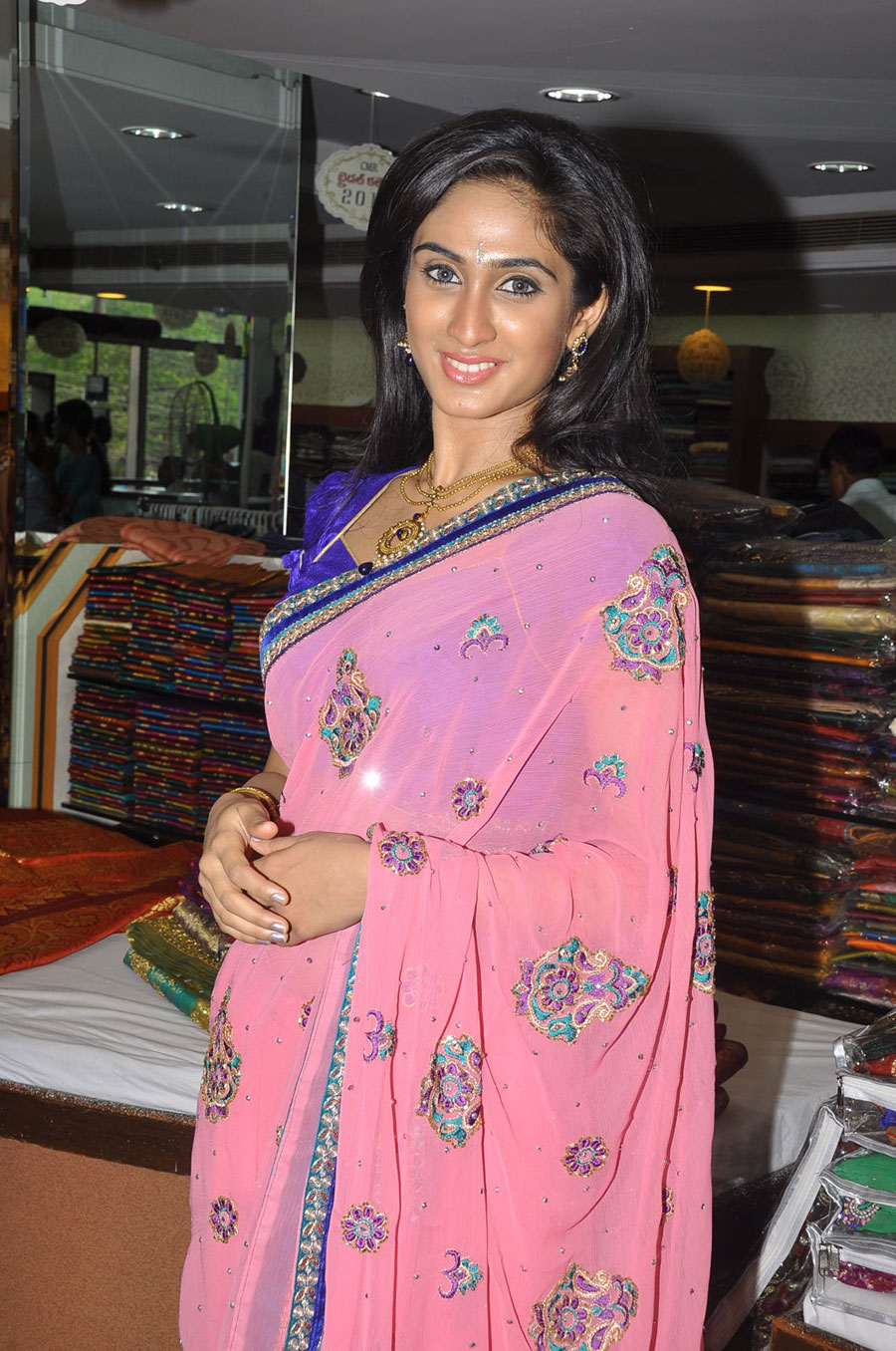 Rosy hot Deepti sati in pink saree at cmr wedding collection launch