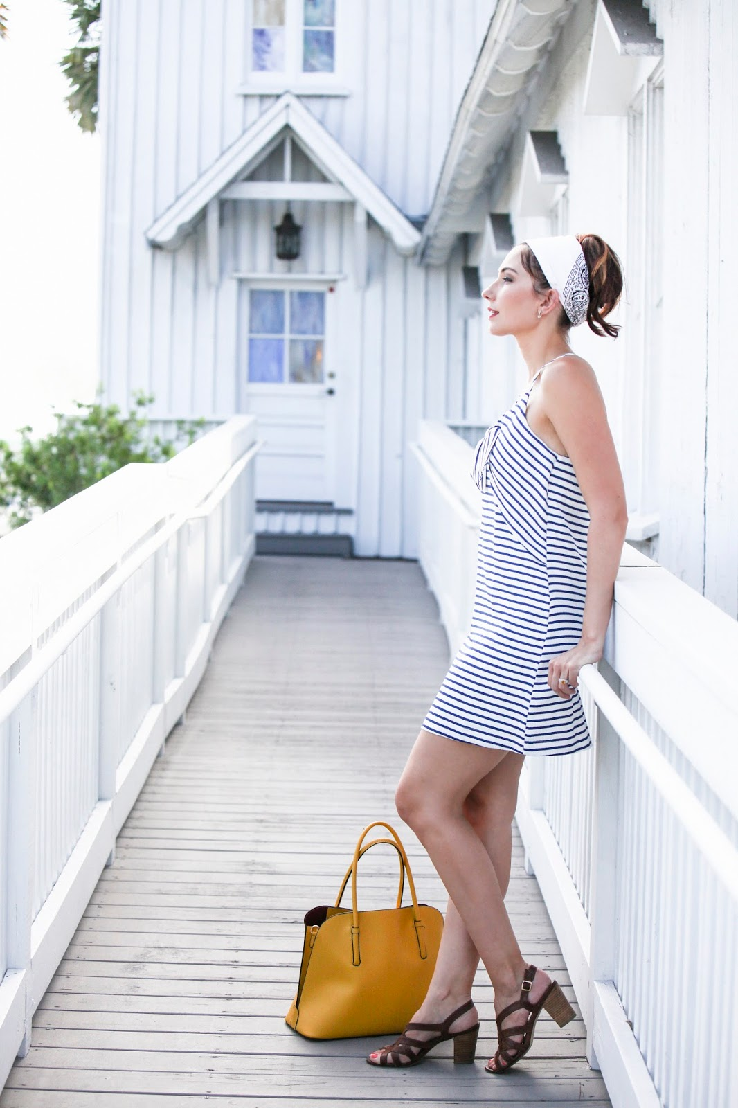 Amy West wears Nautical Stripes in this Ahoy Dress by Maeve