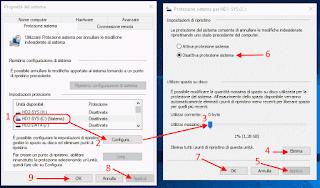 Disattivare protezione sistema e punti di ripristino Windows 10