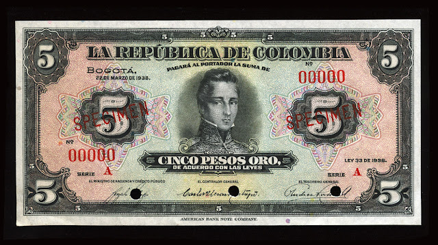 Colombia currency money 5 Pesos Oro