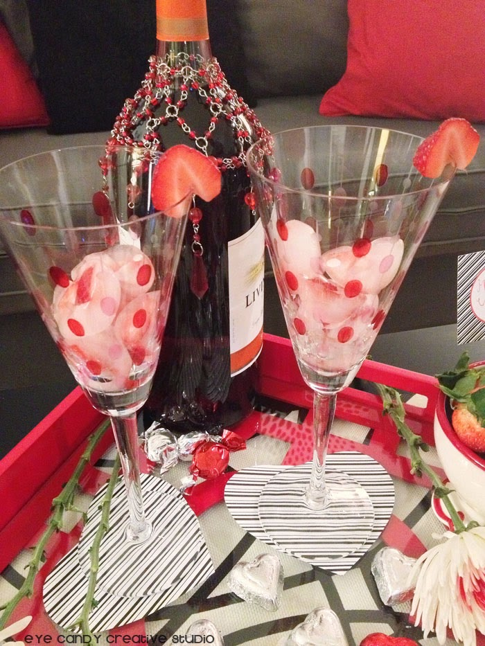 wine glasses, strawberries, heart shaped coasters, free printables fo valentines day, flowers