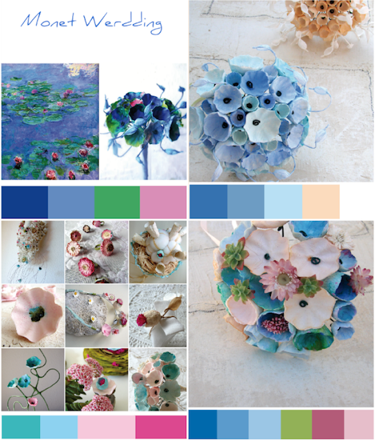 Tendenze colore matrimonio Green 2018 in blu , rosa, celeste. Bouquet di carta Roma