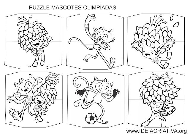 6 quebra-cabeças de duas peças com os mascotes das Olimpíadas Rio 2016