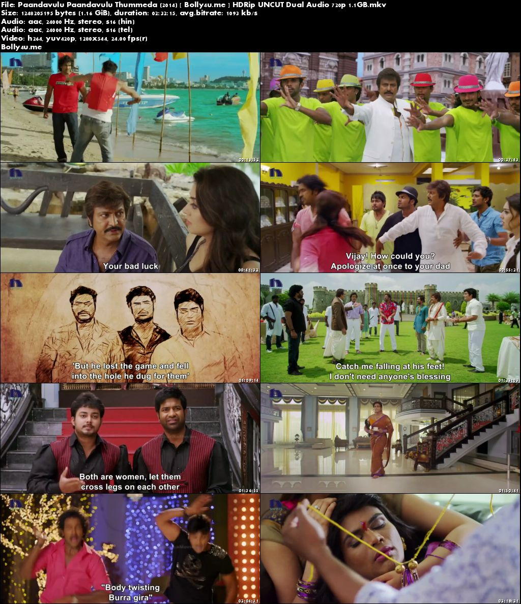Pandavulu Pandavulu Tummeda 2014 HDRip UNCUT Hindi Dual Audio 720p Download