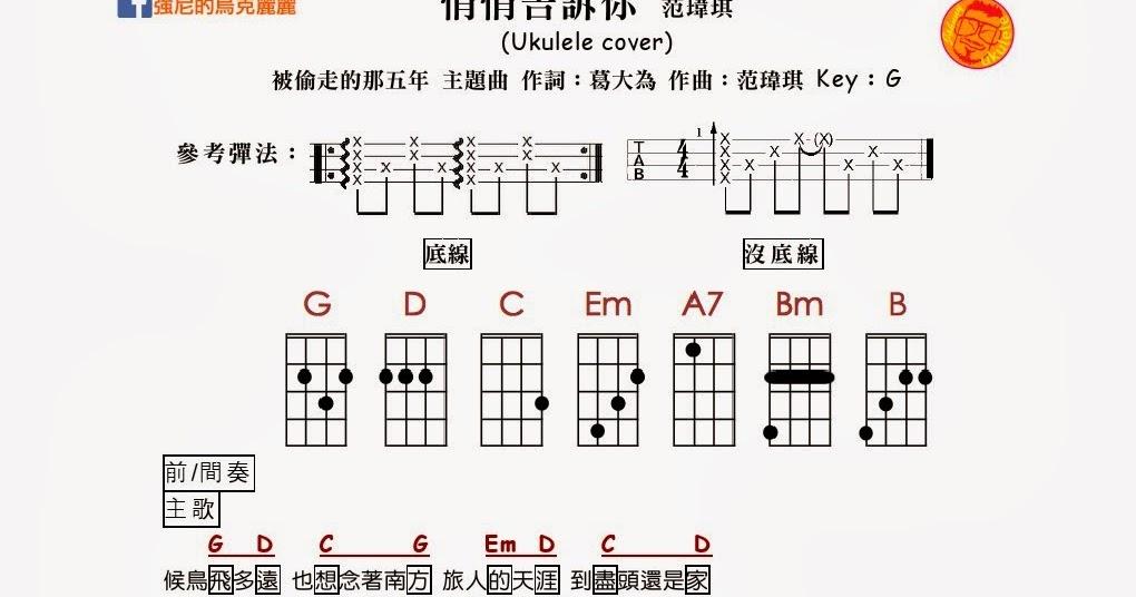 強尼的烏克麗麗 Johnny Ukulele音樂教室: #226 悄悄告訴你 范瑋琪 強尼的烏克麗麗譜 Johnny's Ukulele Tabs