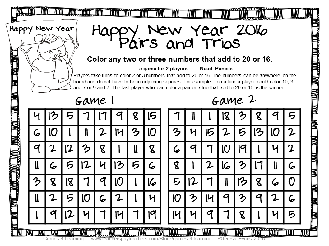 Fun Games 4 Learning New Year Math Freebies Ideas And More