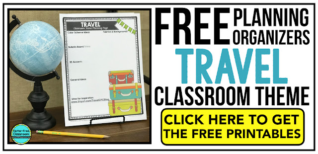 TRAVEL Theme Classroom: If you're an elementary teacher who is thinking about an Around the World, Adventure, Airplane, Exploration or travel theme then this classroom decor blog post is for you. It'll make decorating for back to school fun and easy. It's full of photos, tips, ideas, and free printables to plan and organize how you will set up your classroom and decorate your bulletin boards for the first day of school and beyond.