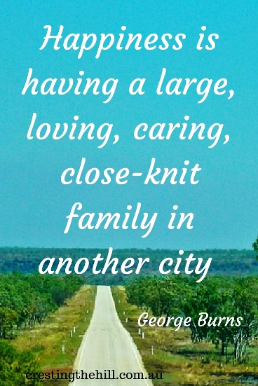 Happiness is having a large, loving, caring, close-knit family in another city. #quote