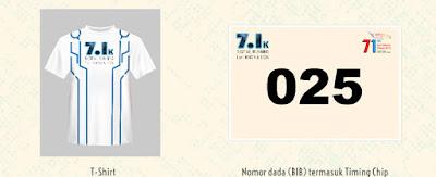 Jersey dan Nomor BIB 7.1K Digital Running for Innovation 2016 Jakarta hari bhakti postel plaza senayan