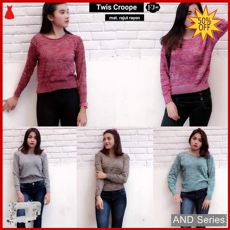 AND031 Baju Atasan Wanita Kaos Rajut Twist BMGShop