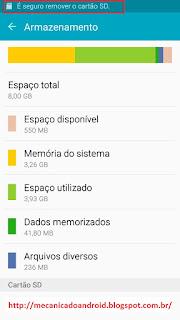 Como remover cartão de memoria em segurança pelo android
