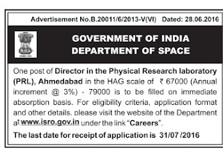 Applications are invited for Director Post in PRL Ahmedabad