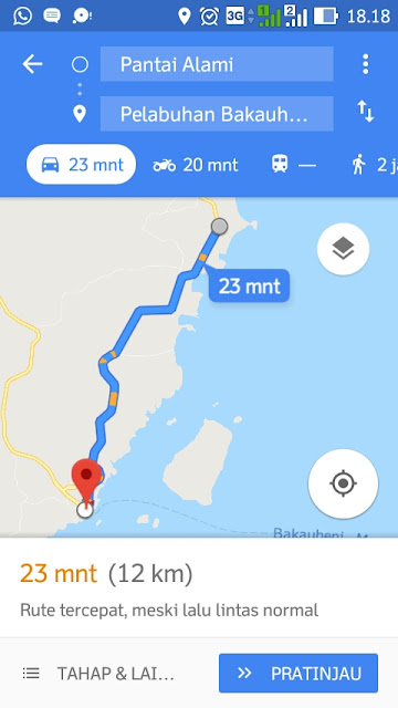 Lokasi dari bakauheni ke pantai alami