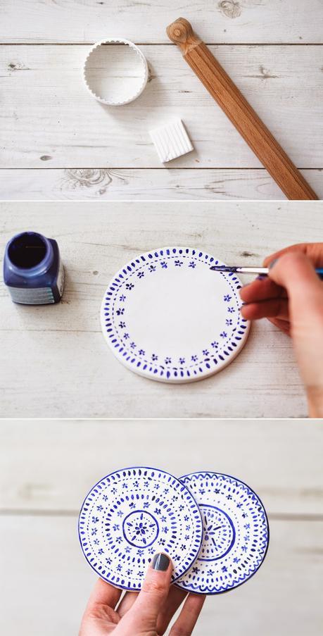 diy decoracion posavasos de cerámica de estilo andaluz blanco y azul fácil y lowcost