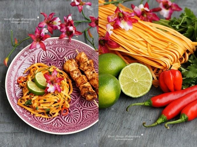 Thai Chili Nudeln mit Limette und Hähnchen Spiessen