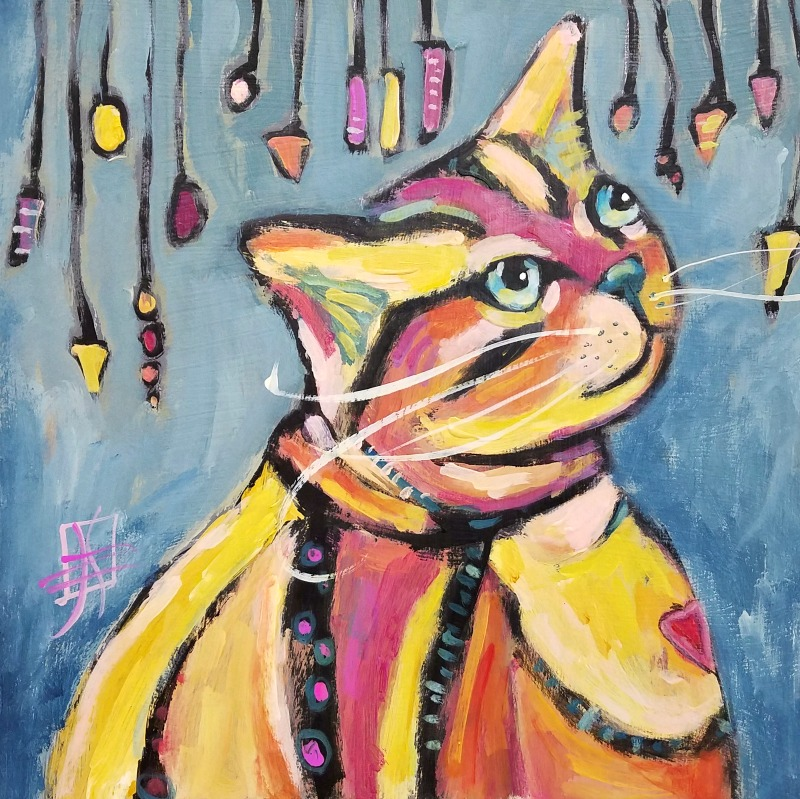 CAT #25 Charmed I'm Sure by Joanie Springer 30 cat paintings in 30 days