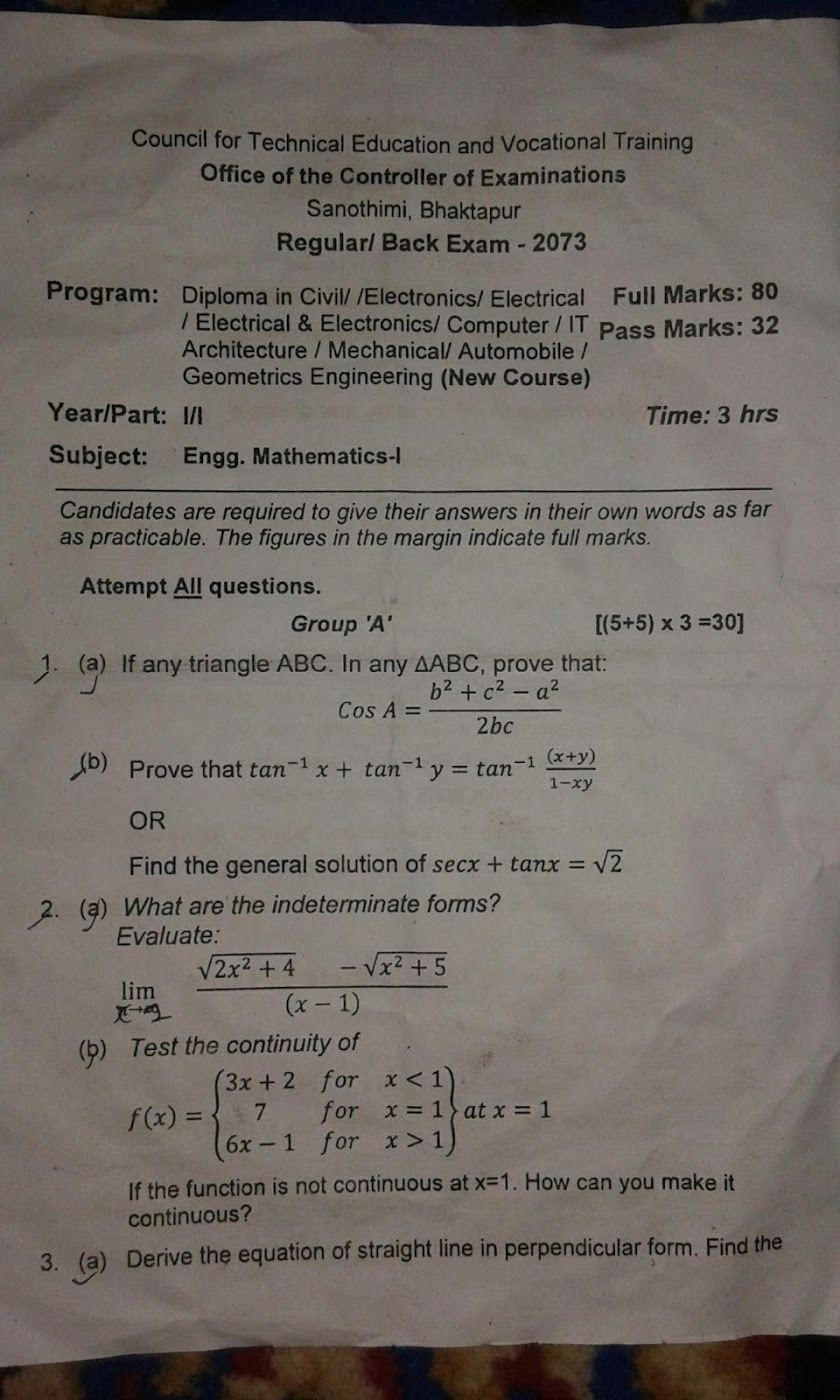 CTEVT | Engineering Mathematics-I | Question Paper 2073 | Diploma | 1st Year/1st Part