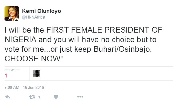 I will be the first female president of Nigeria - Kemi Olunloyo