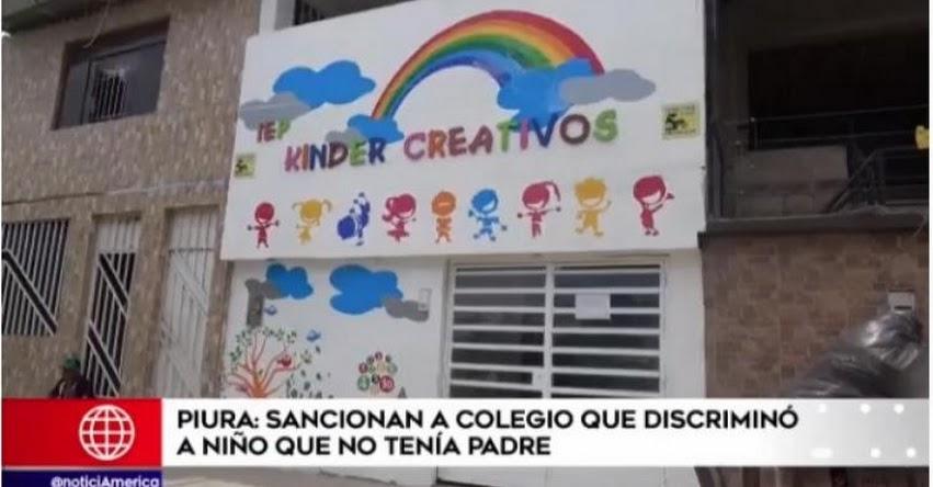 Multan con más de 100 mil soles a colegio «Kinder Creativos» de Piura que discriminó a niño de 5 años por «no tener papá»