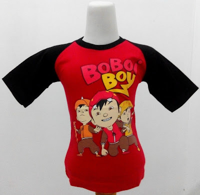Kaos Raglan Anak Karakter Boboiboy 4 dan Teman