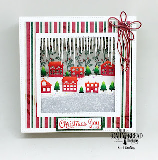 Our Daily Bread Designs Stamp Set: Christmas Card Verses, Custom Dies: Diorama with Layers, Icicle Border, Neighborhood Border, Ice Skate (for the bow), Paper Collections:  Christmas 2013, Christmas 2017