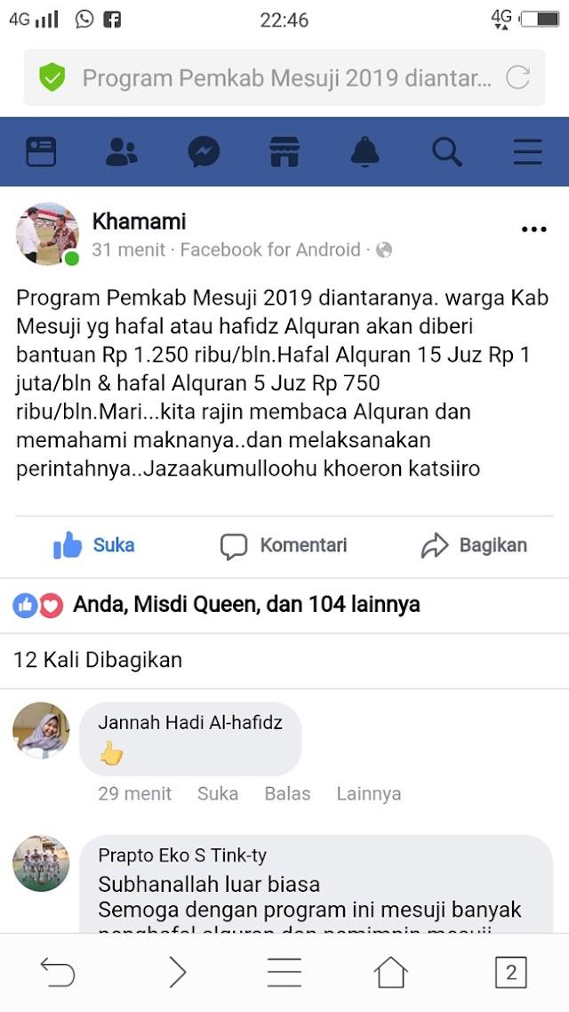 Tahun 2019 Bupati Mesuji Akan Hadiahi Rp1,25 Juta Bagi Penghafal Al Qur'an