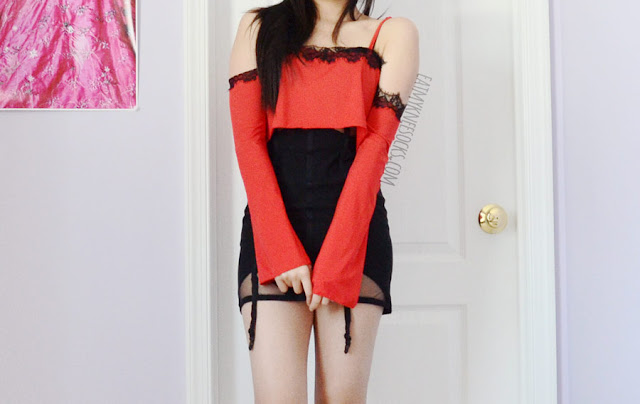 A night outfit featuring Dresslink's red cold-shoulder lace-trim bell-sleeve flowy crop top, modeled with a black garter mesh-cutout bodycon dress from Tobi.