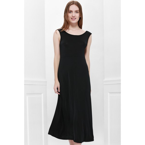 Scoop Neck Solid Color V-Shape Backless Black Sleeveless Maxi Dress