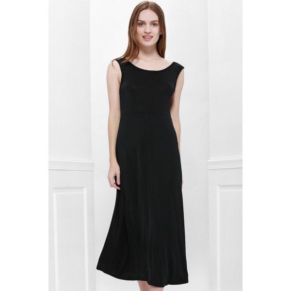 Scoop Neck Solid Color V-Shape Backless Black Sleeveless Maxi Dress