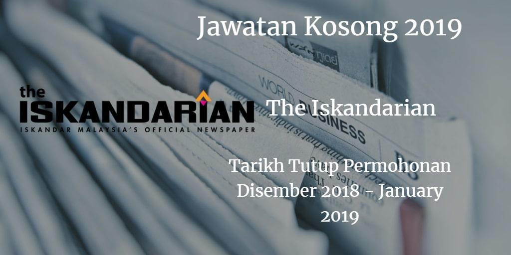 Jawatan Kosong The Iskandarian Disember 2018 - January 2019