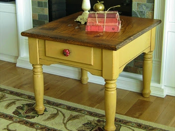 Two-Toned Yellow Farmhouse Oak Side Table Makeover