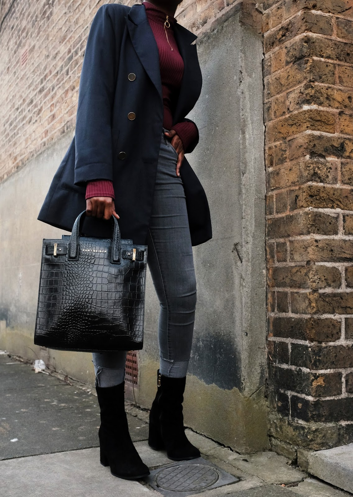 Topshop Archive Blazer Missguided Ribbed High Neck Zip Top Grey Topshop Skinny Jamie Jeans Kurt Geiger London Black Croc Backpack Black Slinky Carvela Kurt Geiger Boots
