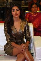 Pooja Hegde looks glamarous in deep neck sleevless short tight golden gown at Duvvada Jagannadham thank you meet function 164.JPG