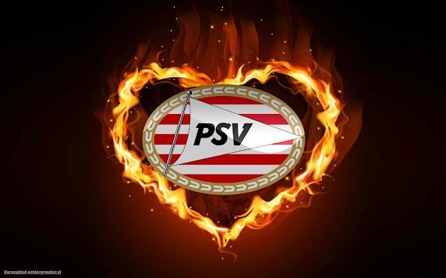 PSV wallpaper met een hartje van vuur