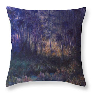 contemporary nature trees throw pillow