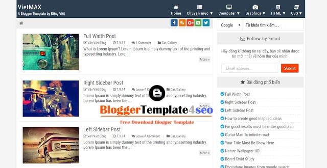 Chia sẻ 2 template blogspot cá nhân từ Đồng Việt