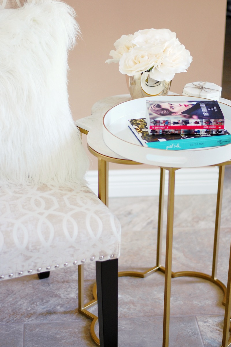 Winner fab finds home decor ideas vancouver blogger fashion books faux fur pillow statement chair marble side table