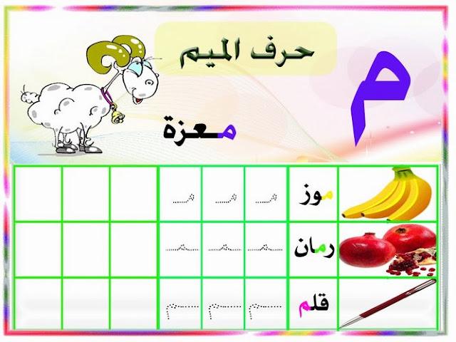 كتابة حرف الميم للاطفال